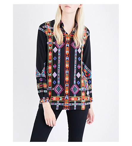 ETRO Geometric-print silk-crepe shirt (Black
