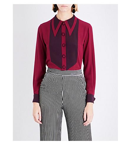 ETRO Pointed-collar bib-front silk shirt (Burgundy