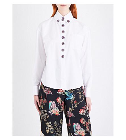 ETRO Embellished-button cotton-poplin shirt (White