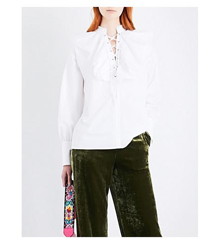 ETRO Ruffled lace-up cotton shirt (White
