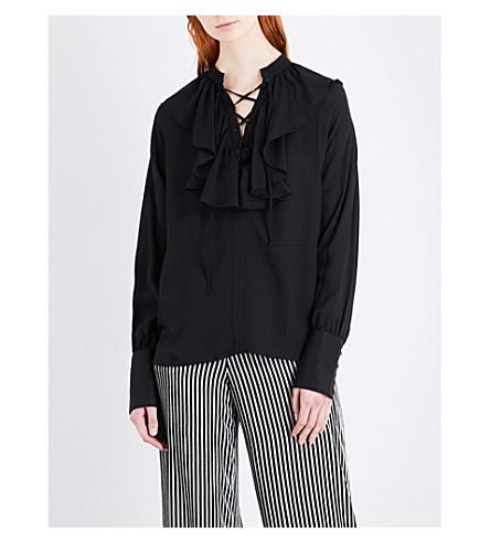 ETRO Ruffled lace-up silk shirt (Black