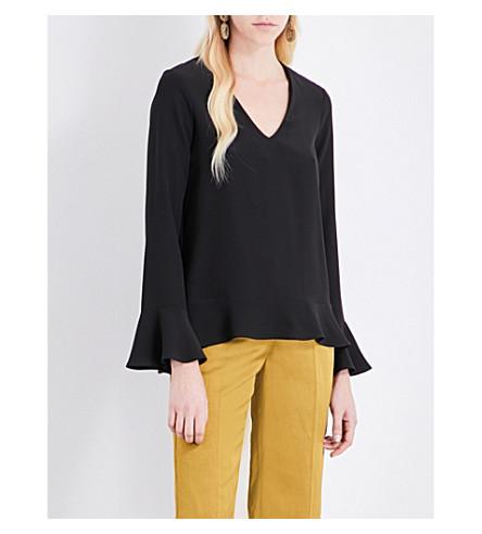ETRO Flared-hem silk top (Black