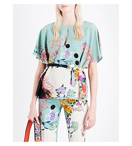 ETRO Silk keyhole top (Pale+green