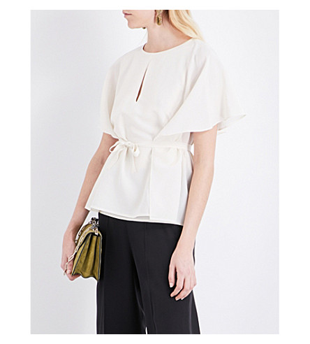 ETRO Cape-overlay silk top (Ivory