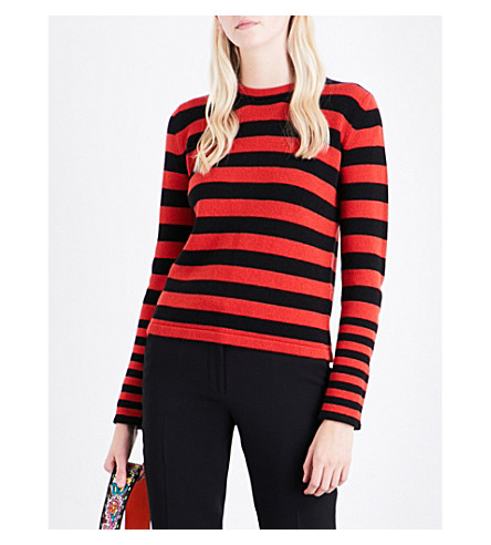 ETRO Striped wool and cashmere-blend jumper (Red