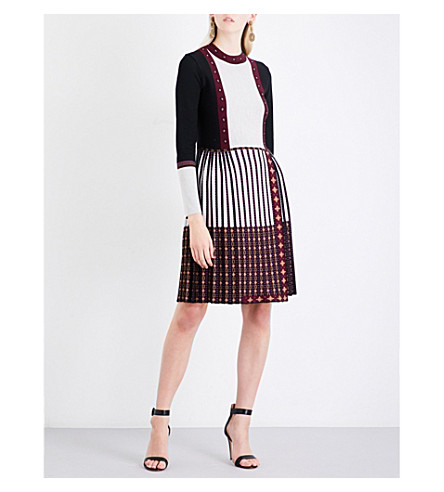 ETRO Contrast intarsia-panel wool dress (Black+burgundy