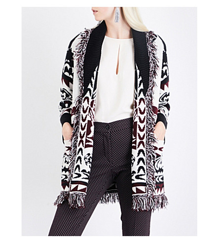 ETRO Floral-pattern wool cardigan (White+burgundy