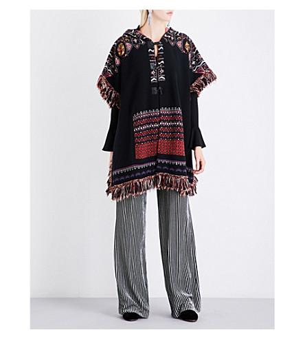 ETRO Floral-pattern wool-blend poncho (Black