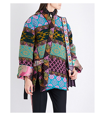 ETRO Reversible floral-jacquard and jacquard-knit coat (Pink+green