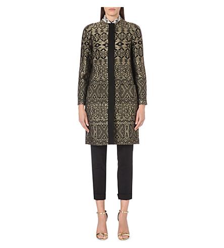 ETRO Jacquard cocoon coat (Gold/blk
