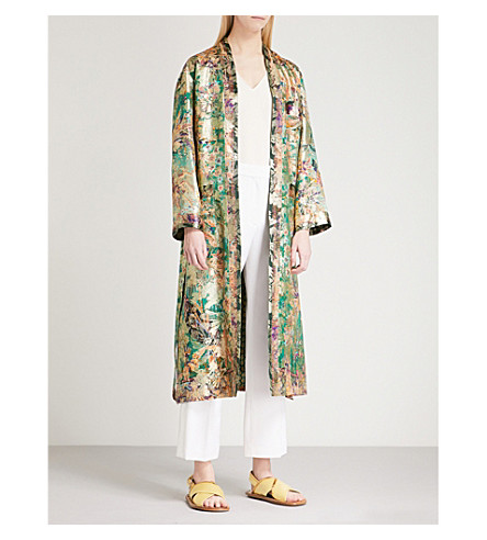 ETRO Paisley-pattern silk-jacquard wrap coat (Green