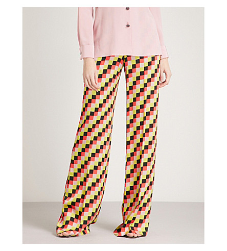 ETRO Graphic checked-print wide-leg high-rise crepe trousers (Multi