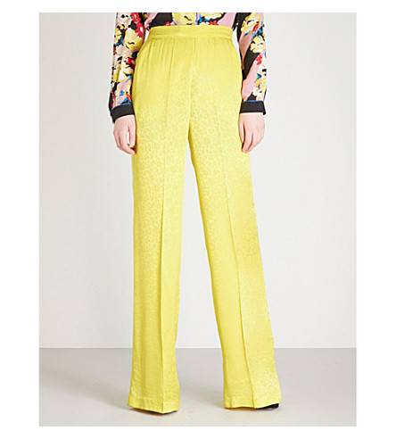ETRO Wide-leg satin-jacquard trousers (Yellow