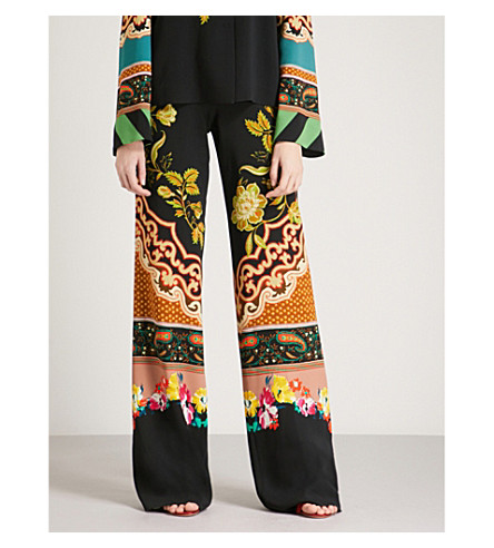 ETRO Floral-print wide-leg high-rise crepe trousers (Multi