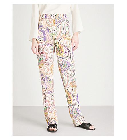 ETRO Floral-print silk-crepe trousers (White+multi