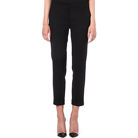 ETRO Tapered stretch-wool trousers (Black