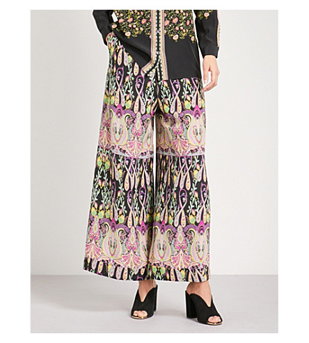 ETRO Paisley-print wide high-rise silk palazzo trousers (Black+multi