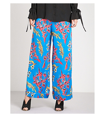 ETRO Floral-print wide high-rise silk-crepe palazzo trousers (Bright+blue