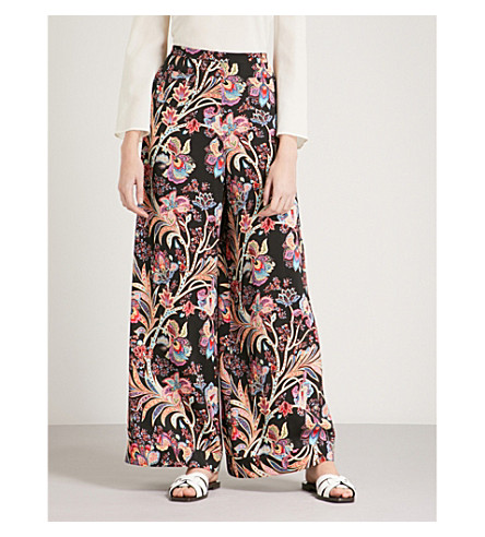 ETRO Floral and paisley-print wide-leg high-rise crepe trousers (Multi