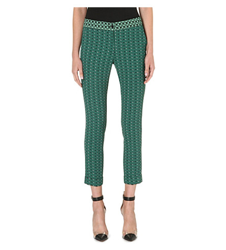ETRO Slim-fit straight printed trousers (Green