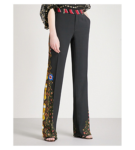 ETRO Printed wide-leg stretch-crepe trousers (Black