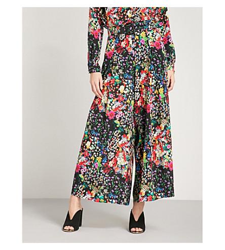 ETRO Floral-print wide-leg silk-crepe trousers (Multi