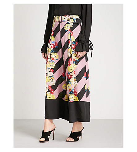 ETRO Floral and striped wide-leg silk-crepe trousers (Multi