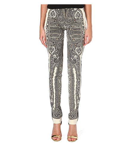 ETRO Paisley-print slim-fit trousers (Black/cream