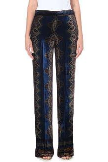 ETRO Paisley-print velvet trousers