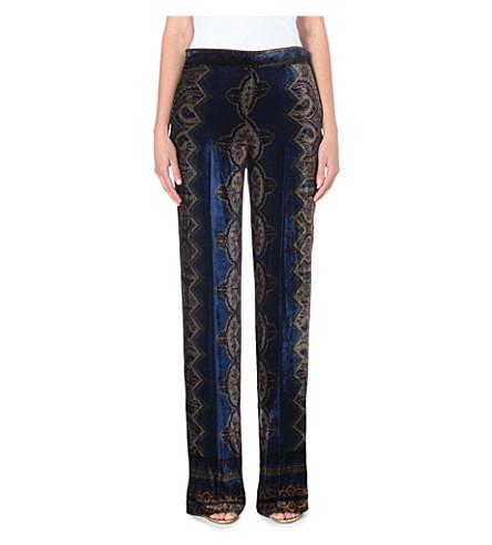 ETRO Paisley-print velvet trousers (Blue