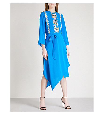 ETRO Floral-embroidered silk-crepe midi dress (Bright+blue