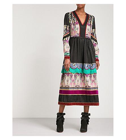 ETRO Patchwork V-neck silk midi dress (Black