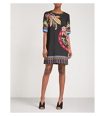 ETRO Jungle-print crepe mini dress (Black