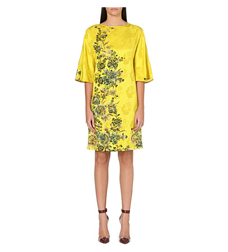 ETRO Floral-brocade silk dress (Yellow