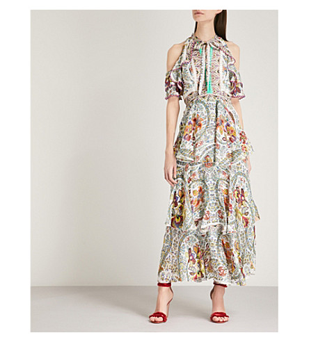 ETRO Floral and paisley-print cold-shoulder silk midi dress (Multi