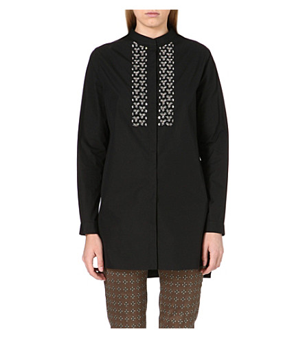 ETRO Embroidered cotton shirt (Black