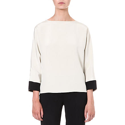 ETRO Long-sleeved silk top (Cream