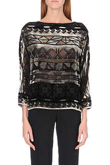 ETRO Geometric devoré velvet top