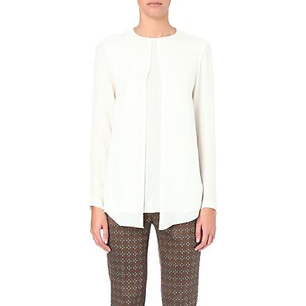 ETRO Pleated-insert silk blouse (Cream