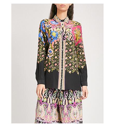 ETRO Floral-print silk shirt (Black