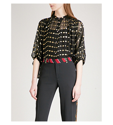 ETRO Band-collar cropped fil-coupé top (Black