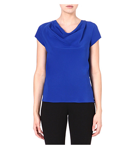 ETRO Cowl-neck silk top (Blue
