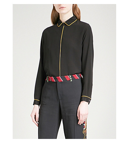 ETRO Contrast-piped silk-crepe shirt (Black