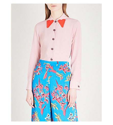 ETRO Crystal-embellished silk-crepe shirt (Pink