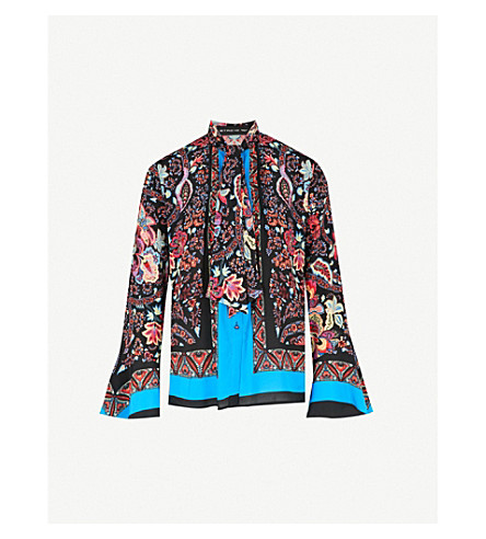 ETRO Batik-print silk-crepe shirt (Multi