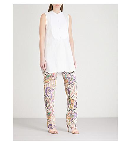 ETRO Textured-bib stretch-cotton shirt (White