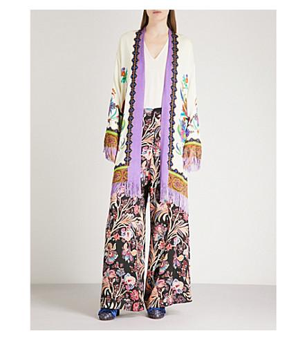 ETRO Idra floral-embroidered woven kimono (Multi