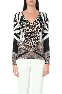 ETRO Graphic silk and cashmere-blend jumper