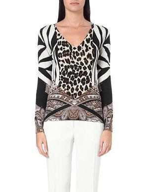 ETRO Graphic silk and cashmere-blend jumper