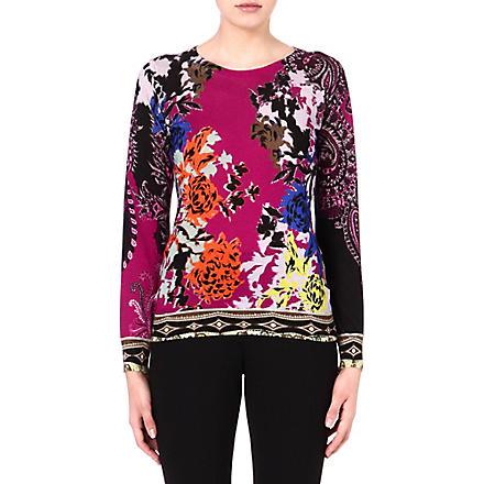ETRO Silk-blend printed jumper (Pink